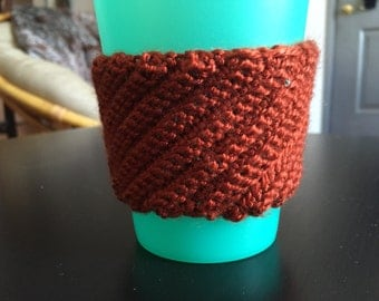 Orange Crochet Coffee Cozy