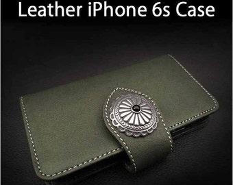 Leather iPhone Flip Case 6s Olive Colour K01C99