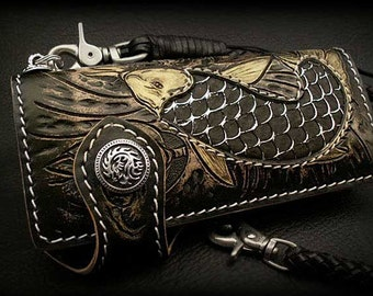 Japanese Koi Pattern Leather Wallet, 925 Silver Concho / K04C1