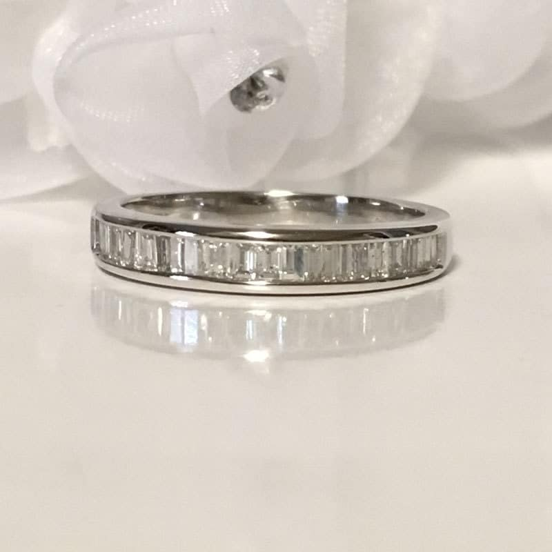 baguette wedding band low profile ring anniversary ring