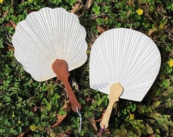6 pcs Quality Petal-shaped Paper Fans - Wedding Hand Fan, Bridal Bridemaids Paddle Fan