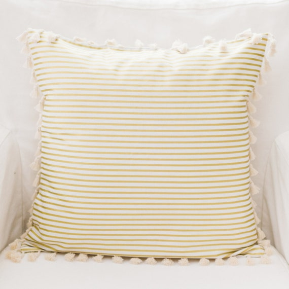 Gold Stripe Throw Pillow with Tassels Gold Dust by NewArrivalsInc