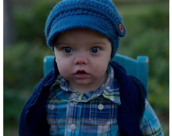 Dark Blue color,Crochet newsboy hat , crochet baby boy hat  for photo prop, newborn baby hat, crochet baby hat