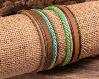 Cool Leather and Hemp Bracelets, Beach Wear, Summer Fun For Men and Women, Surfer Braclet, JLA 55
