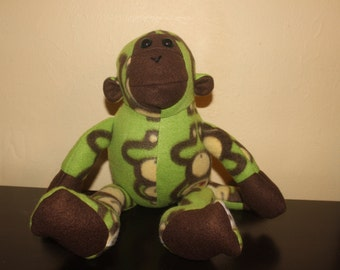 Green and brown monkey print stuffed plush monkey/toy