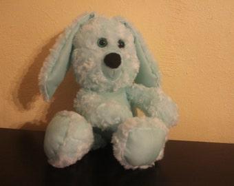 Mint green minky swirl and satin stuffed rabbit/plushie