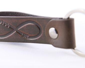 Infinity YO ME Personalized Leather Keychain Custom Leather Key chain Hand Stamped Personalized Leather Key Fob Custom Leather Key Fob