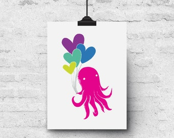 Octopus & Balloons, Colorful Illustration, Birthday, BFF, Love - Greeting Card