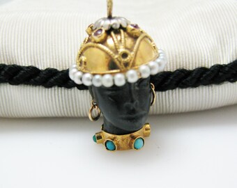 Vintage Blackamoor Carved Ebony Head with Helmut Pendant in 18k yellow gold Pearls & Turquoise