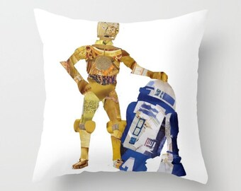 Star Wars Home decor, R2D2 c3po Decorative Pillow cover, The force awakens, Star Wars art, Home accents, home accessories, Indoor OR Outdoor
