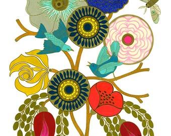 Bouquet Study #1: Colorful floral bouquet art print