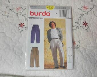 BURDA PATTERN MEN'S Pleated Pants slacks 4823 New Uncut Sz 38-40-42-44-46-48