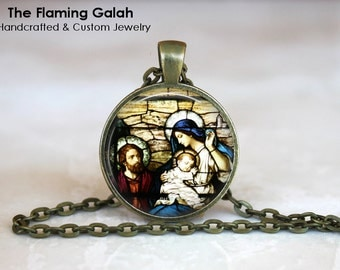 Virgin Mary & Baby Jesus •  Stained Glass Style Necklace •  Church Window •  Christian •  Made in Australia •  (P0660)