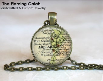 ADELAIDE Map Pendant • Vintage Adelaide Map • Old Adelaide Map • Capital of South Australia • Gift Under 20 • Made in Australia (P1182)