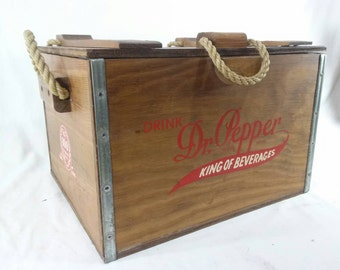 Vintage Dr. Pepper cooler wood crate 100 year anniversary 1885-1985