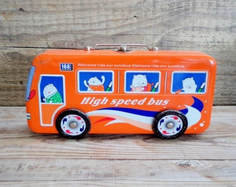 Vintage Metal Box Bus, Orange Bus, Bus Tool Box or storage of small parts, High Speed Bus, Welcome ride our Autobus