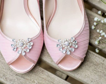 Swarovski Diamante Shoe Clips , handmade, shoe accessories, wedding shoes