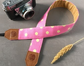 Polka Dot DSLR camera strap,Pink and Yellow Polka Dot Camera Strap, leather camera Strap ,