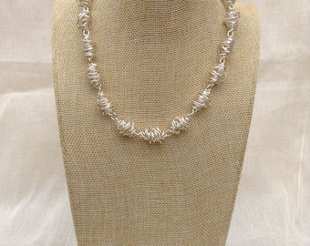 Silver Twist Necklace.  Wire Necklace