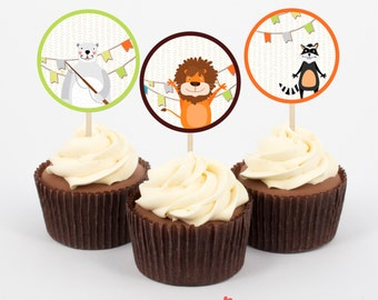 Zoo Birthday Party Birthday Cupcake Toppers - Pritnables