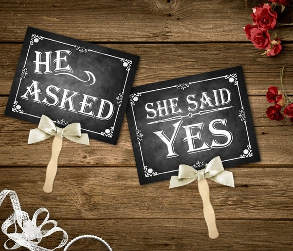 He asked she said yes printable chalkboard wedding signs for Yes decoration