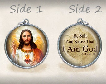 Jesus Christ Be Still Quote  Catholic Medal. Religious Catholic Christian Pendant. Silver Tone Charm 1 inch. FREE Shipping