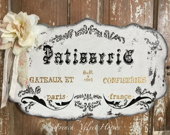 French Pastry Shop patisserie sign Paris pastry shop french velvet horses FrenchVelvetHorses wood signs cottage sign shabby chic wood sign