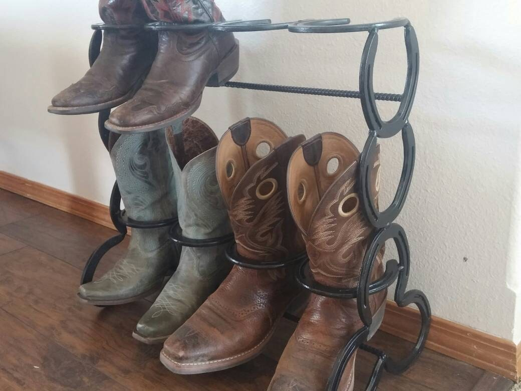 horseshoe boot rack holds four pairs of boots. Black Bedroom Furniture Sets. Home Design Ideas