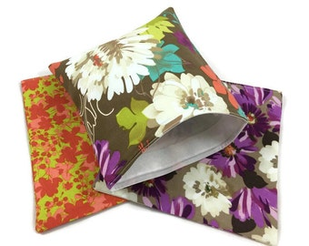 Reusable Snack Bags Lunch Baggies and Sandwich Bags in Elegant Flower