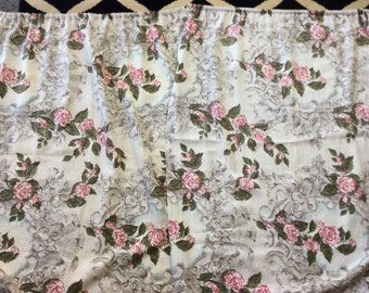 3 Vintage 1950's Barkcloth Panels Pink,Silver and Green 33x44 SALE!