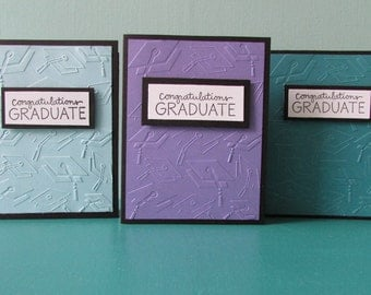 3 Graduation cards-Greeting cards,grad card sets,embossed grad cards,blue/purple Congratulations graduate cards,Handmade/Homemade cards
