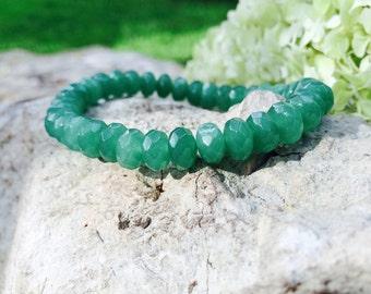 Natural aventurine stretch bracelet, Gemstone bracelet for women, Natural green gemstones, Healing bracelet