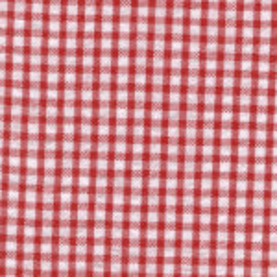 Red Seersucker Check Fabric, Fabric Finders, 100% Cotton, Red Gingham