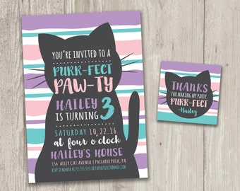 Kitty Cat Birthday Invitation, Purr-fect Pawty, Cat Birthday Invitation | Digital File