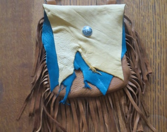 Rustic Deerskin Belt Loop Hip Bag with Fringe, Teal Green and Mixed Browns