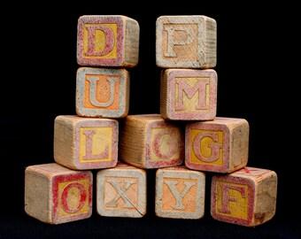 Vintage Wood Blocks set of 12