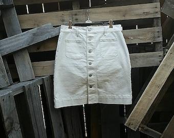 Vintage Loft White Button Down A-Line Skirt (Size 2)
