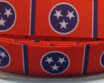 "4 Yards of 5/8"" Tennessee Flag Grosgrain Ribbon"
