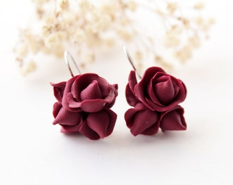 Red rose earrings, burgundy, romantic earings, statement earrings, gothic earrings, bridesmaid earrings, dark red, marsala