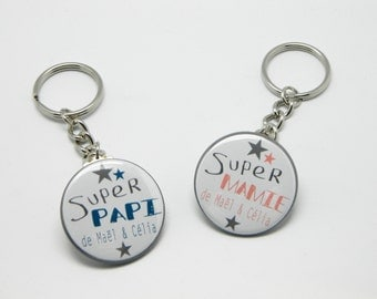 Lot of 2 Keyring 37mm custom - Super Papi and Super Granny - blue duck and coral