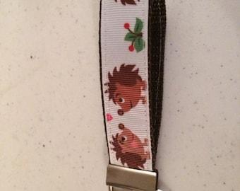 Hedgehog wristlet key fob key chain