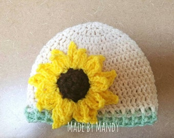 Sunflower crochet hat - toddler