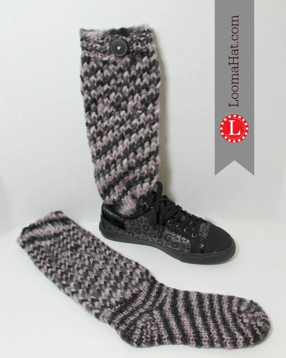 Loom Knit Sock Boots Pattern with Video Tutorial