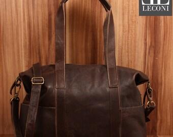LECONI shopper shoulder bag Tote purse vintage leather dark brown LE0034-wax