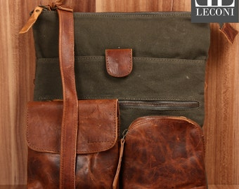 LECONI shoulder bag shoulder bag ladies gentlemen Used look leather of canvas green LE3011-C