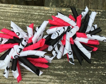Back To School, Hot Pink Curly Bows, Mustache Curly Bows, Mustache & Pink Korker Bows, Curly Piggy Tail Bows, Korker Bows, Piggy Clips