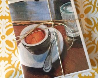 "Good Morning Coffee - Art Note Cards - 4 Pack, Blank Inside, 5 1/2"" x 4"" Reproduction of Original Art By Renee Brennan"