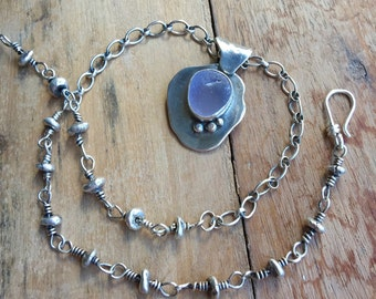Oxidized .925 Sterling Silver Necklace with Purple Sea Glass