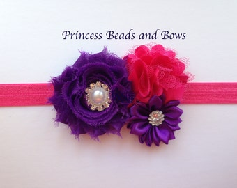 Hot Pink and Purple Flower Headband, Floral headband, Shabby Chiffon Headband, Girls Headband, Infant Headband, Little Girls, Baby Headband
