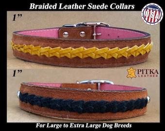 Braided Dog Collars - Handmade Leather Dog Collars - Unique Dog Collar - Large Dog Collars - Durable Dog Collars for Large Dogs Made in USA